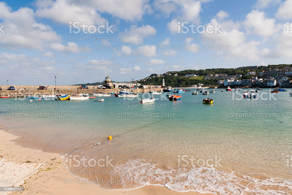 Harbour beach in St Ives on the coast of Cornwall stock photo
