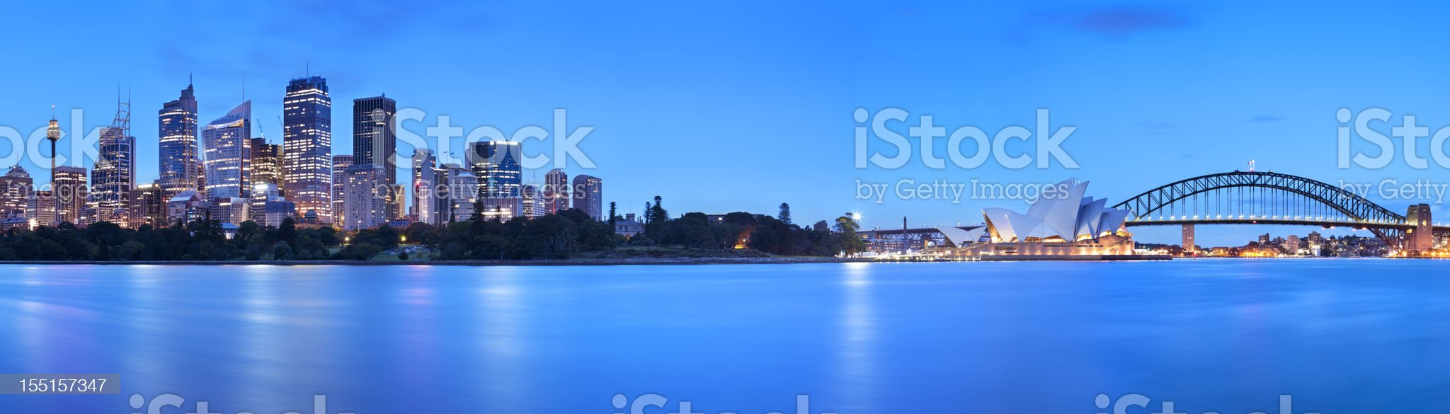 Harbour Bridge and Sydney skyline, Australia at night royalty-free stock photo