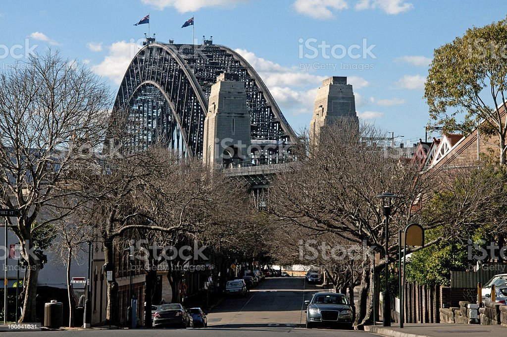 Harbour Bridge from The Rocks, Sydney stock photo