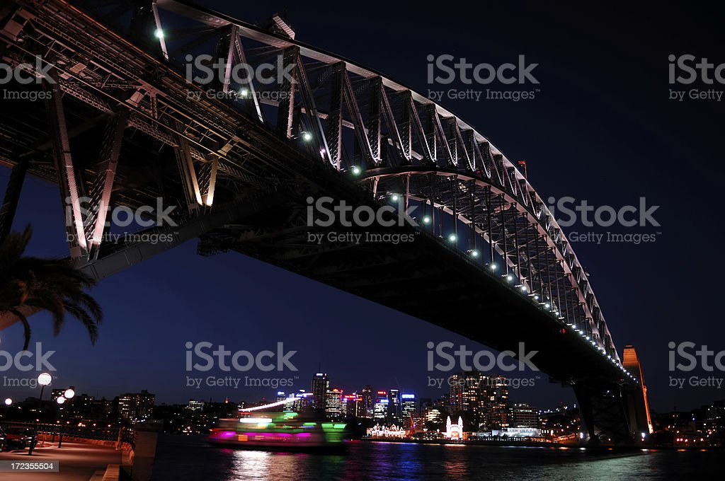 Harbour bridge in Sydney at night royalty-free stock photo