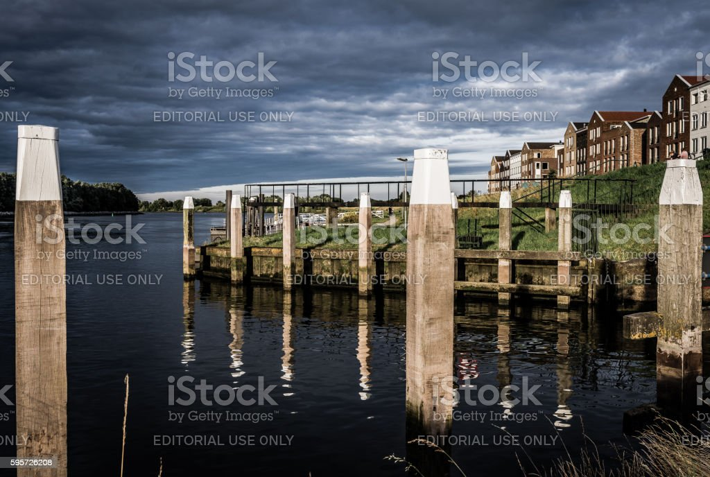 Harbour entrance in Oud Bejierland, the Netherlands stock photo