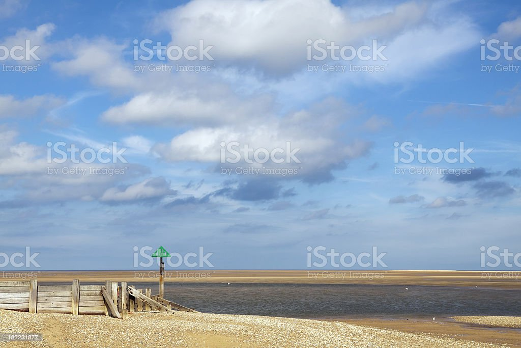Harbour entrance - low tide at Wells next the Sea stock photo