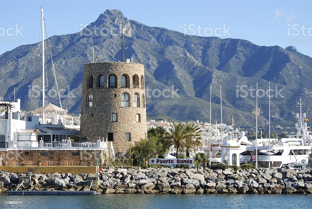 Harbour entrance, Puerto Banus, Spain. stock photo