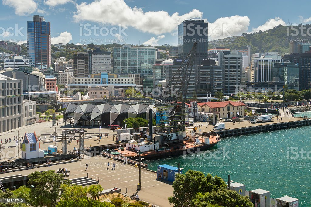 Harbour front, Wellington, New Zealand stock photo