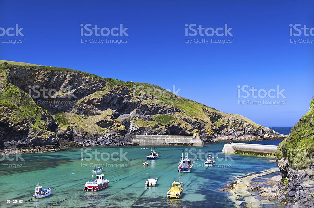 Harbour in fishing village Port Isaac, Cornwall, England stock photo