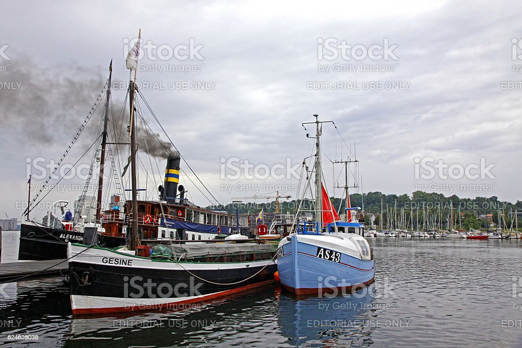 Harbour in Flensburg city, Germany stock photo