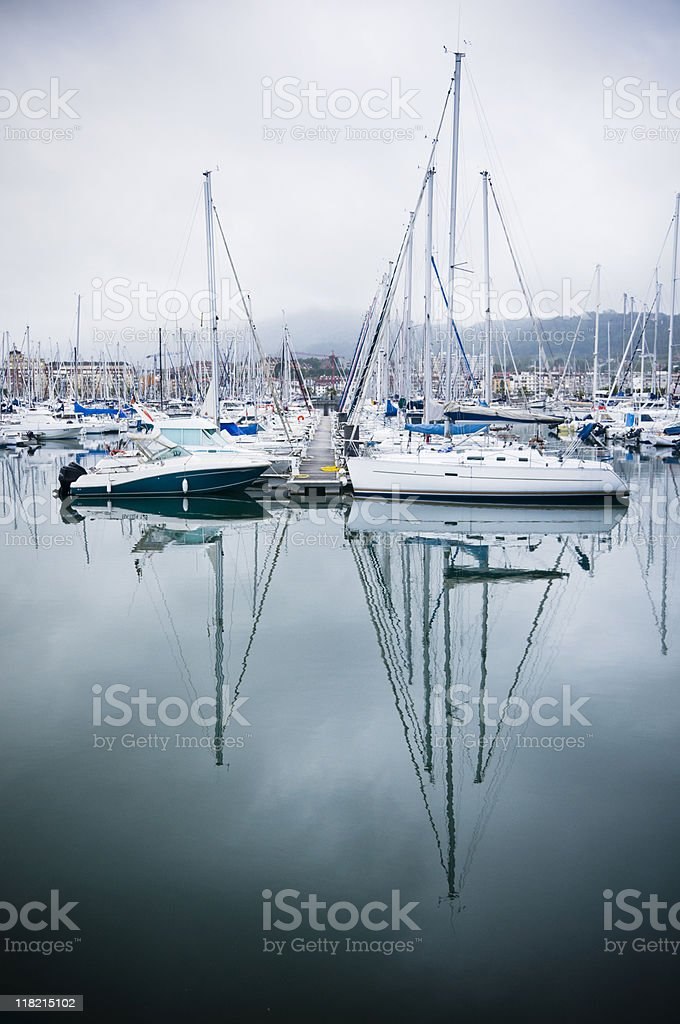 Harbour in the mist royalty-free stock photo
