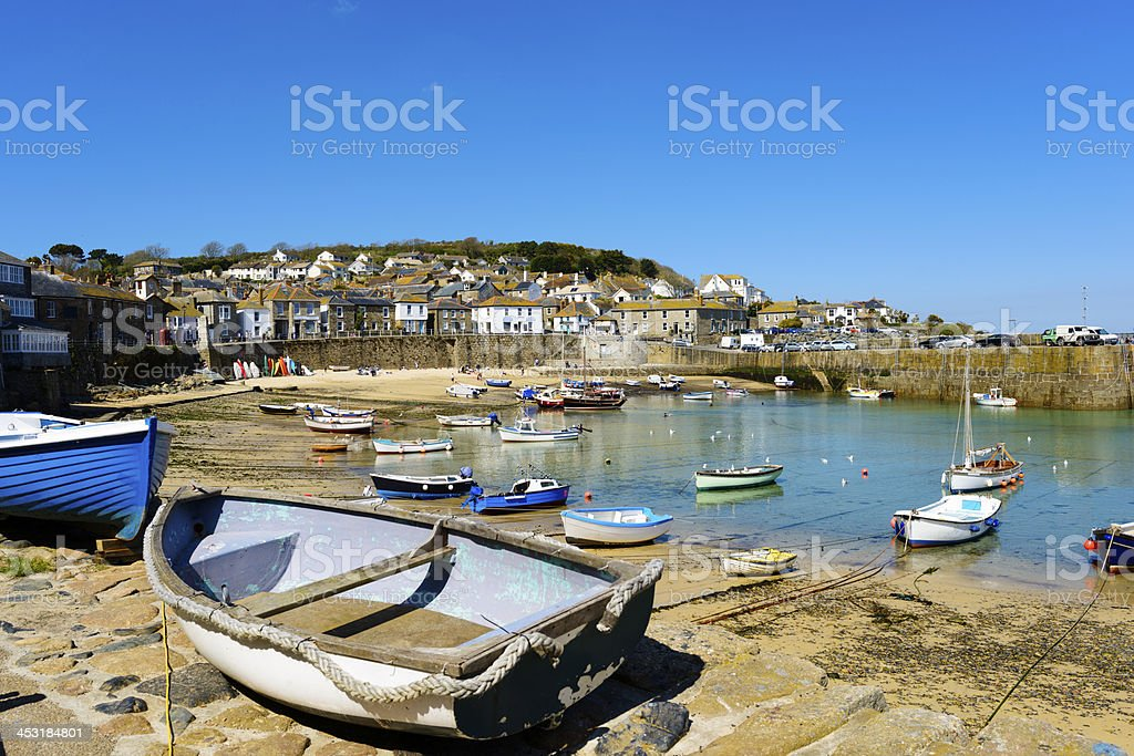 Harbour in village of Mousehole,  Penance, Cornwall,  UK royalty-free stock photo