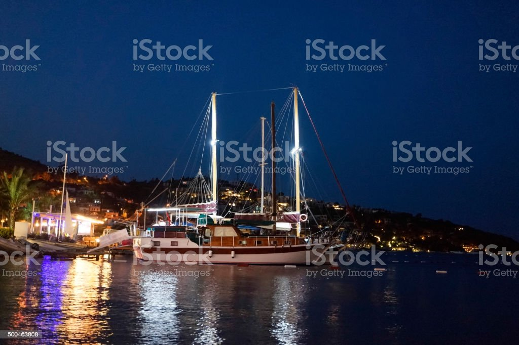 Harbour Leisure Boats at night stock photo