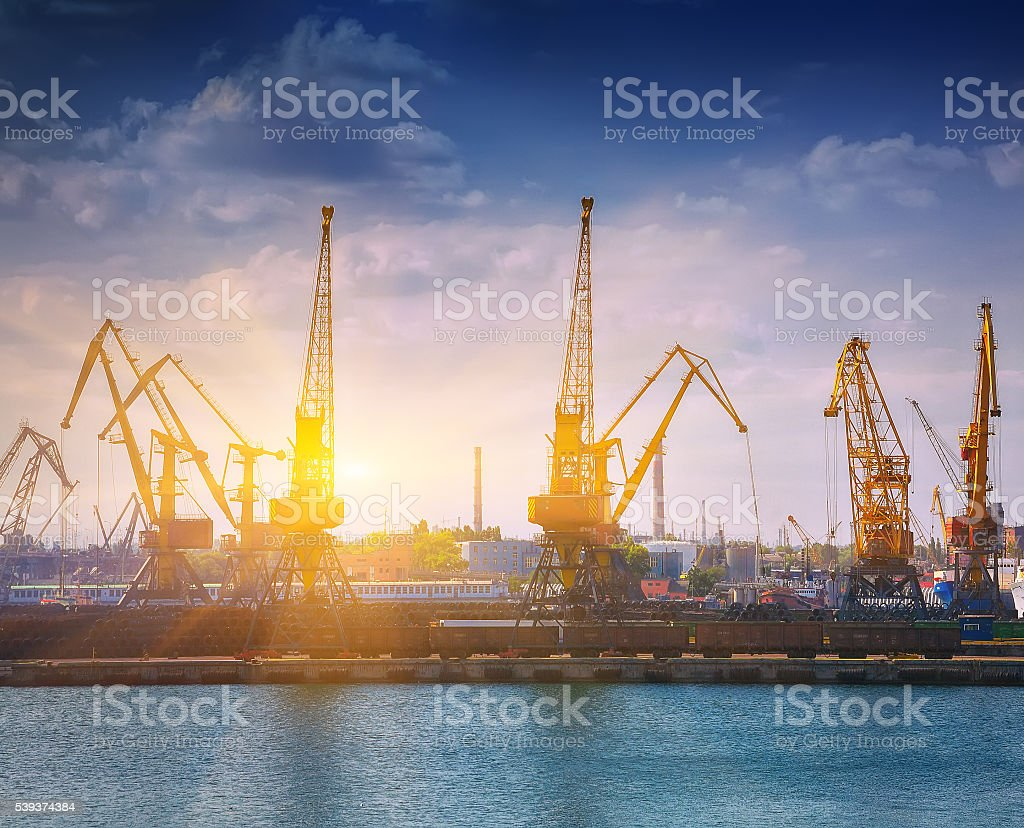 Harbour Level Luffing Cranes in Port stock photo
