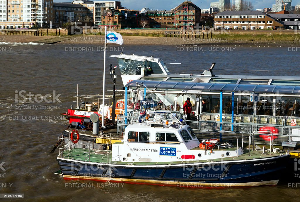 Harbour Master's launch on the River Thames at Greenwich stock photo