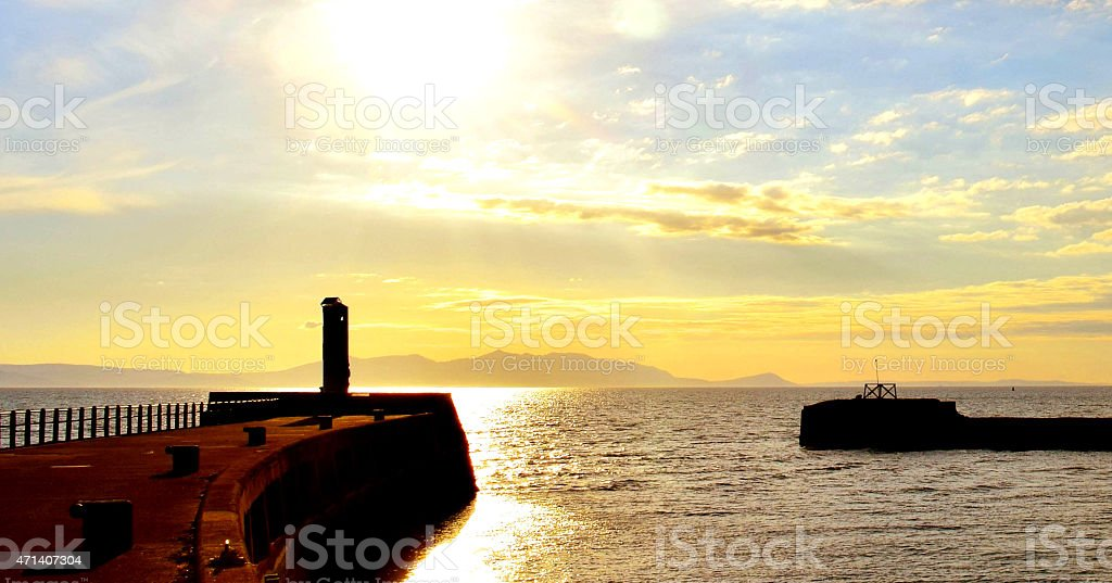 Harbour Mouth Sunset stock photo