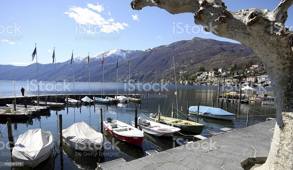 harbour of Ascona stock photo