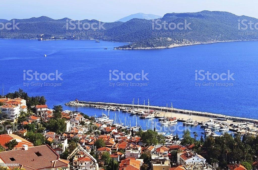 Harbour of city Kas in Turkey and Greek island Kastelorizo royalty-free stock photo