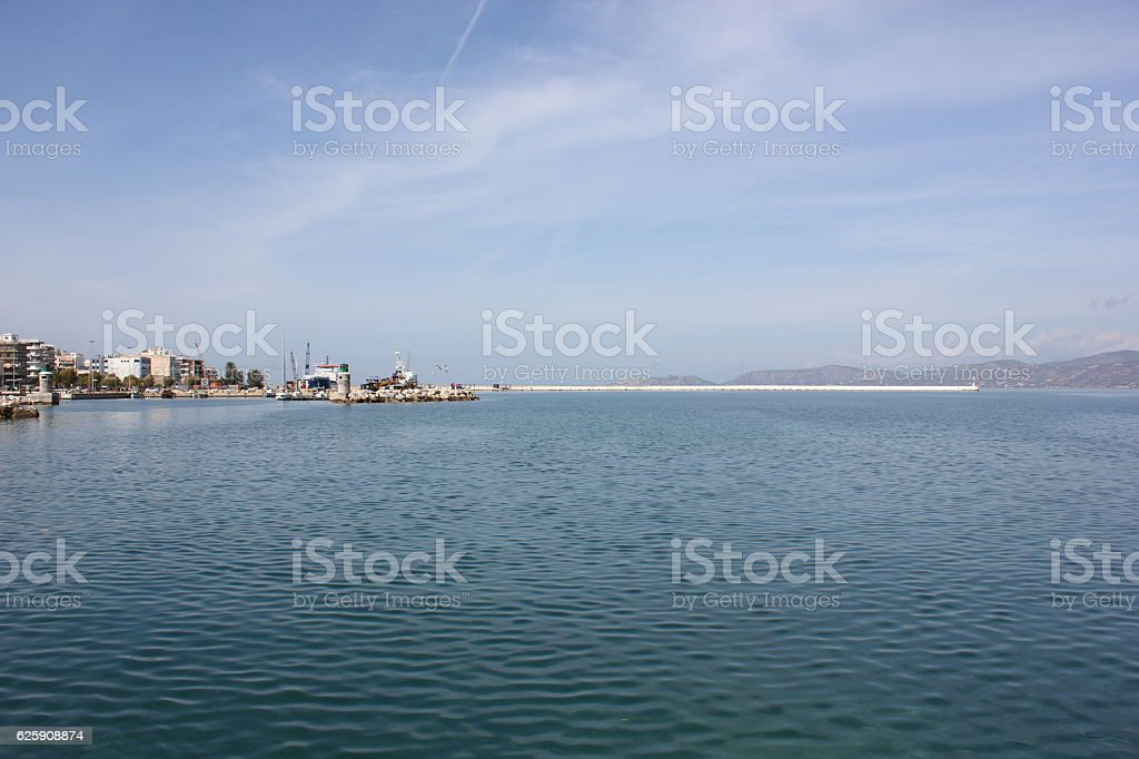 Harbour of Corinth stock photo