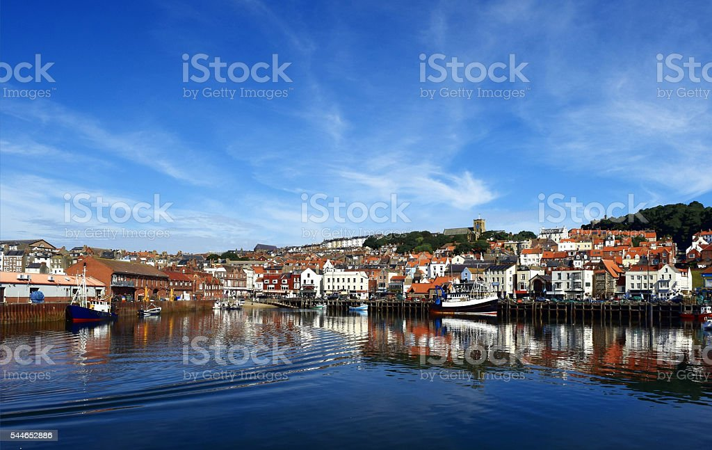 Harbour Reflections from Scarborough stock photo