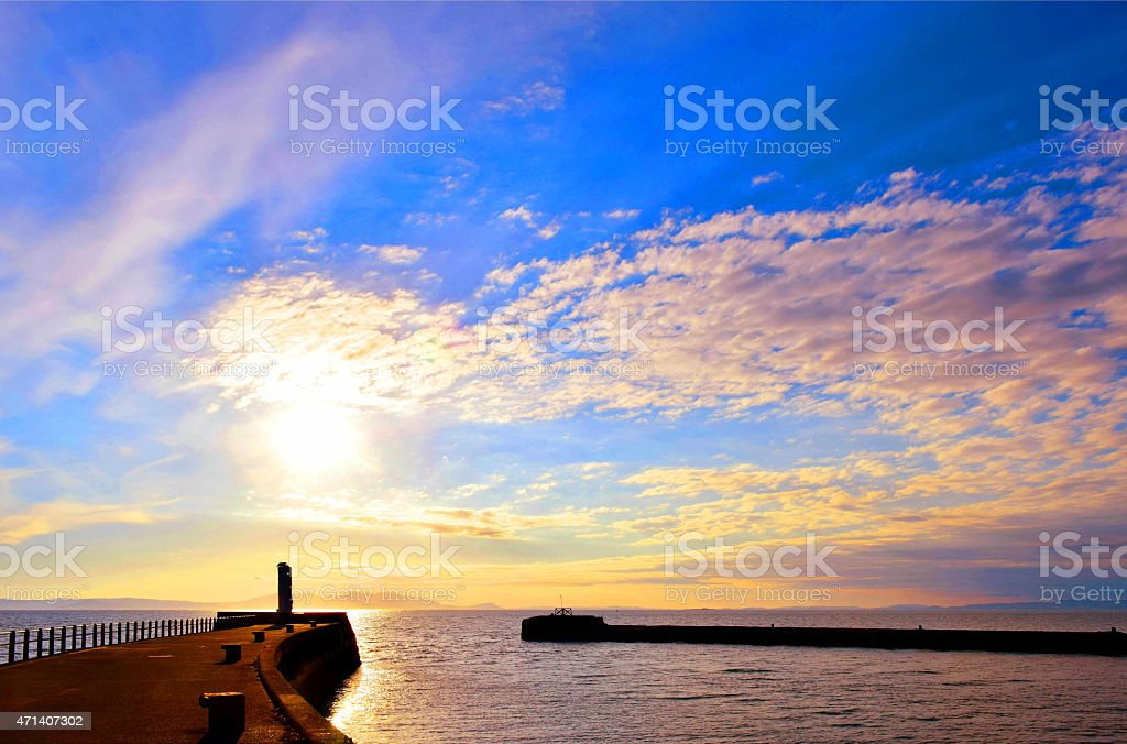 Harbour sunset, Ayr stock photo