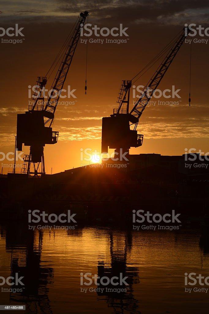 Harbour sunset, Jersey, U.K. stock photo