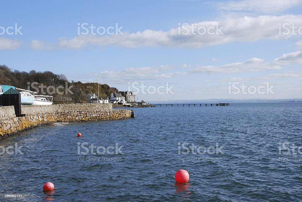 Harbour Wall at Aberdour royalty-free stock photo