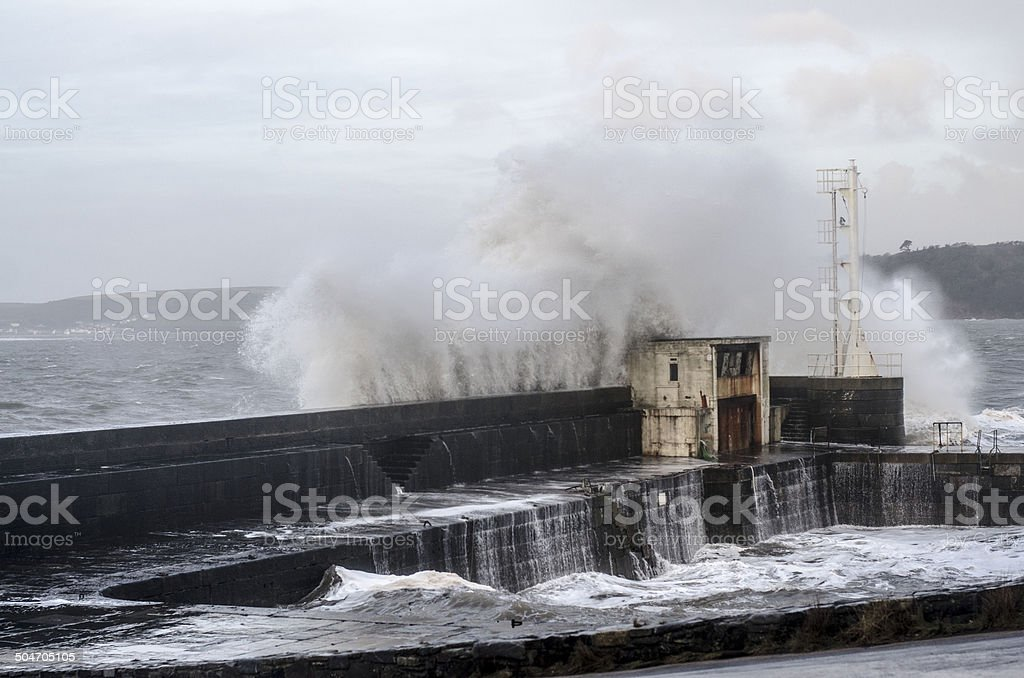 Harbour wall stock photo
