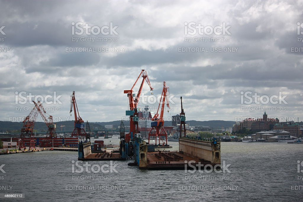 Harbour with cranes in Gothenburg Sweden stock photo