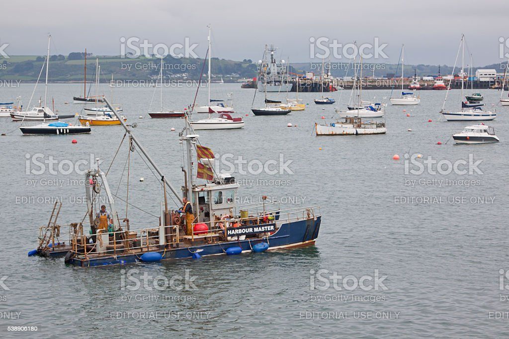 Harbourmaster vessel in Falmouth docks UK stock photo