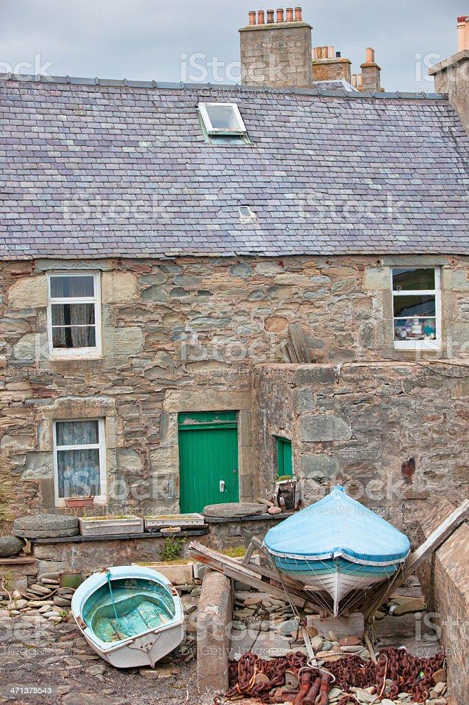 Harbour-side Warehouse in Lerwck Shetland Islands stock photo