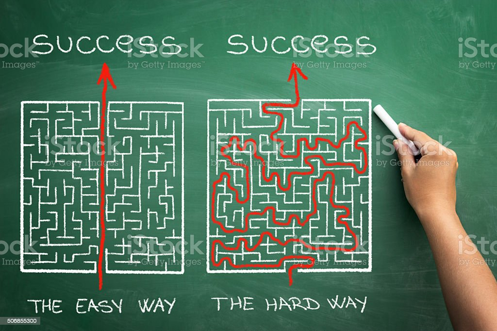 hard and easy way illustrated shown by maze stock photo