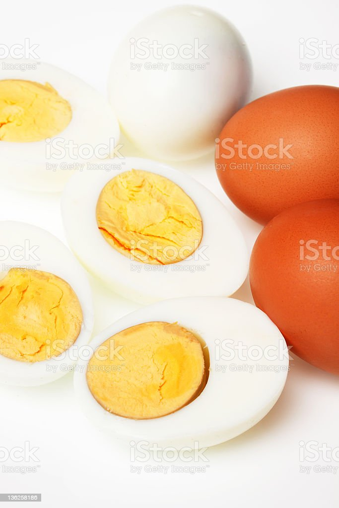 Hard boiled chicken eggs royalty-free stock photo