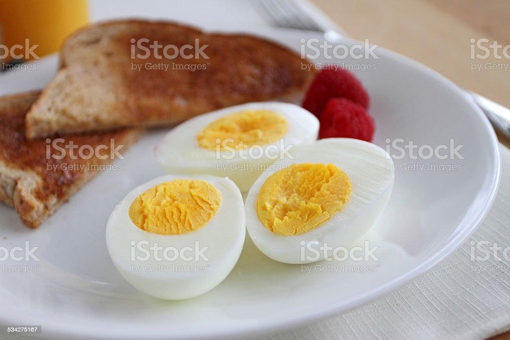 Hard boiled egg breakfast stock photo