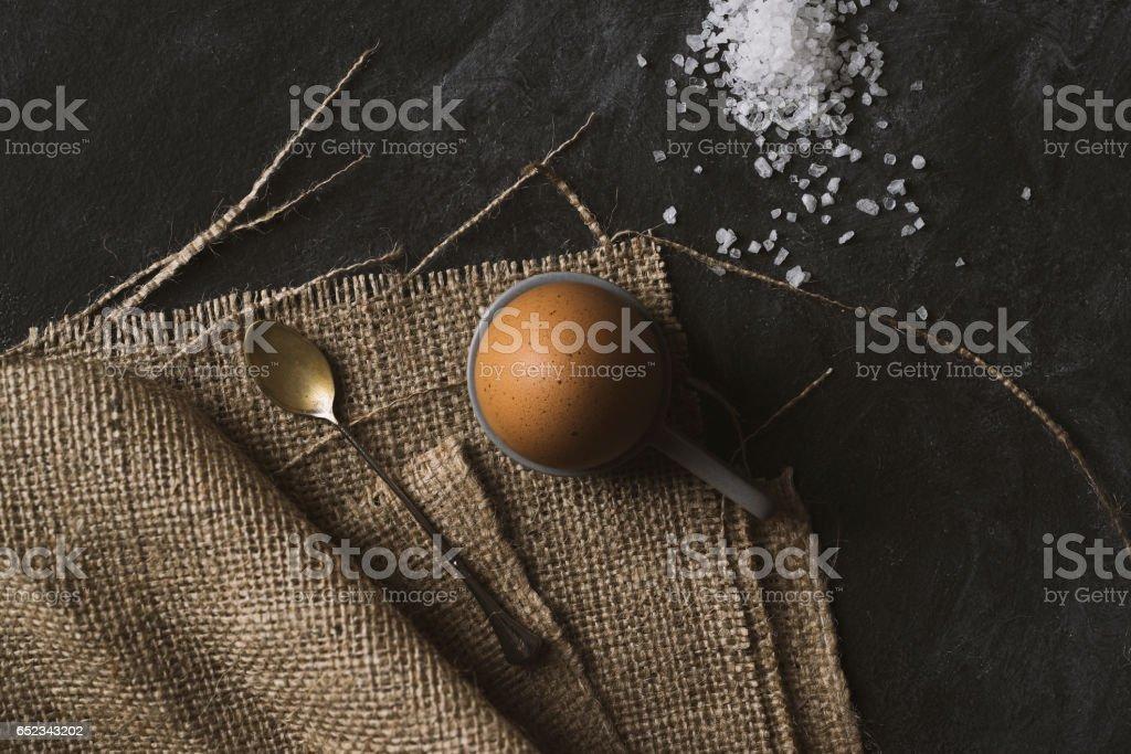 Hard boiled egg for breakfast stock photo