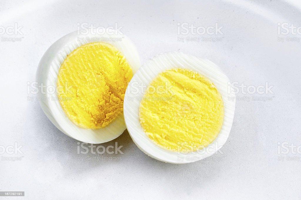 Hard Boiled Egg Sliced in Half stock photo
