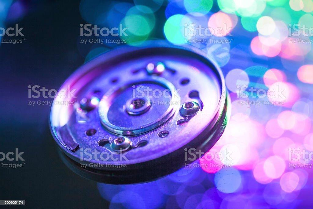 hard disc under optic light stock photo