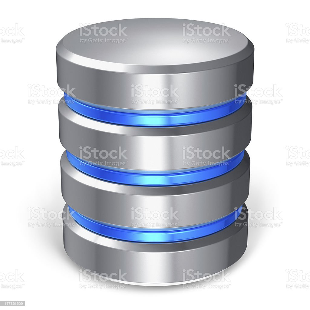Hard disk and database icon stock photo