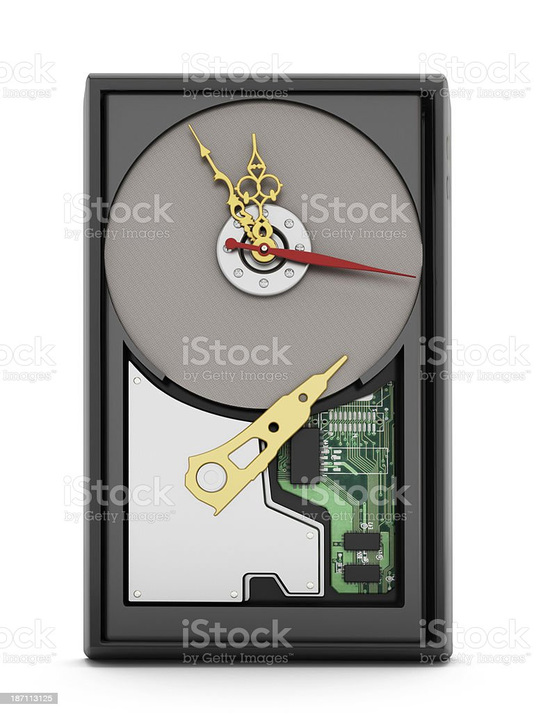 Hard disk clock royalty-free stock photo