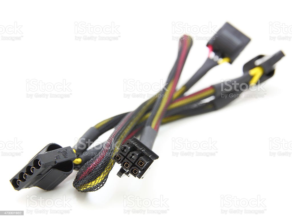 Hard disk drive power cables stock photo