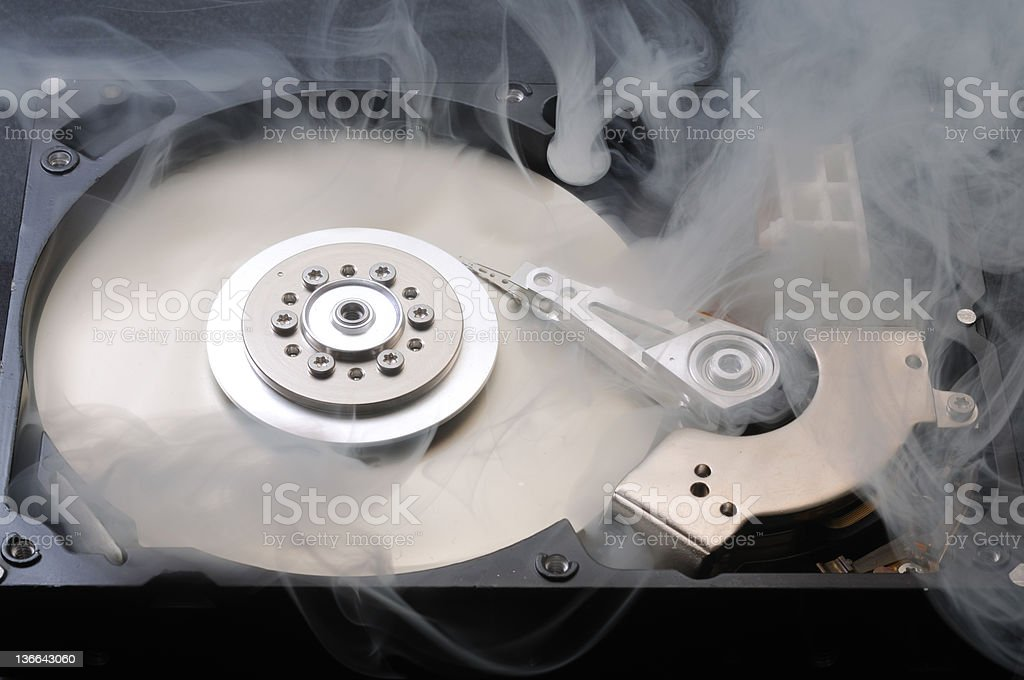 hard disk in smoke stock photo