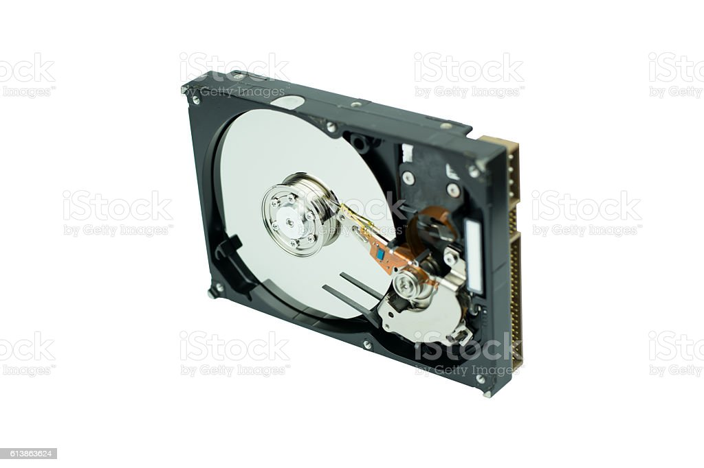 hard disk isolated on white background stock photo
