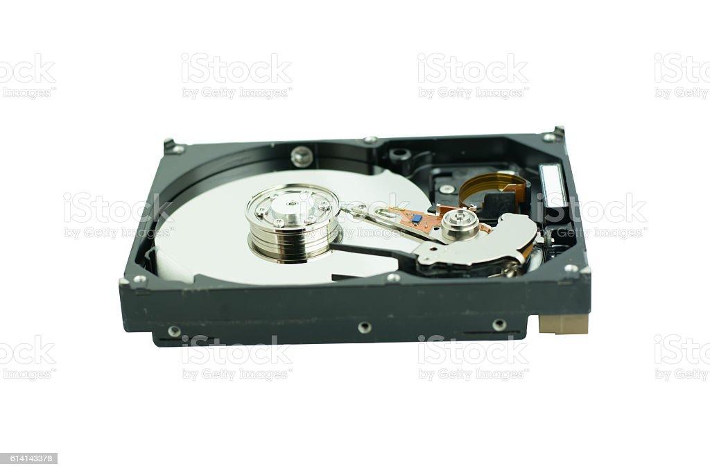 hard disk isolated on white background stock photo