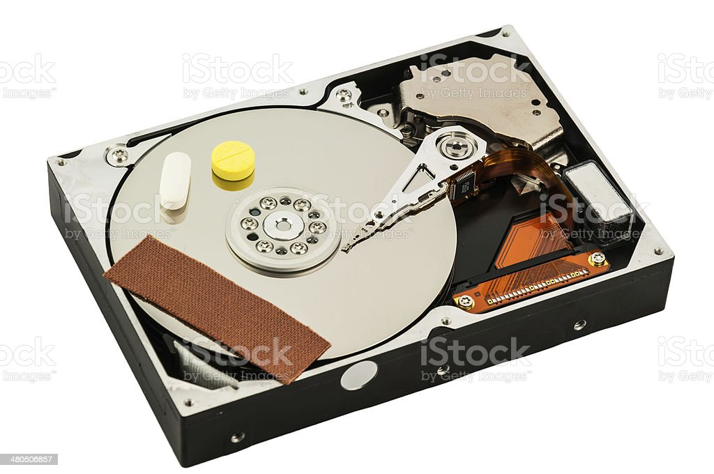 Hard disk recovery concept stock photo
