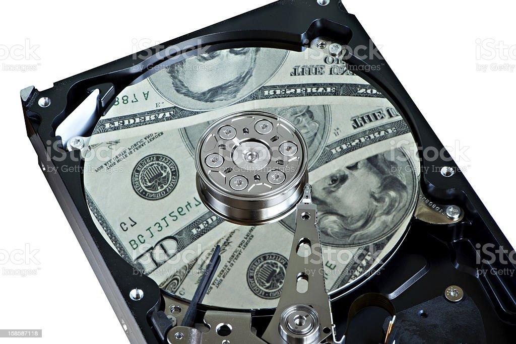 Hard drive and dollars royalty-free stock photo