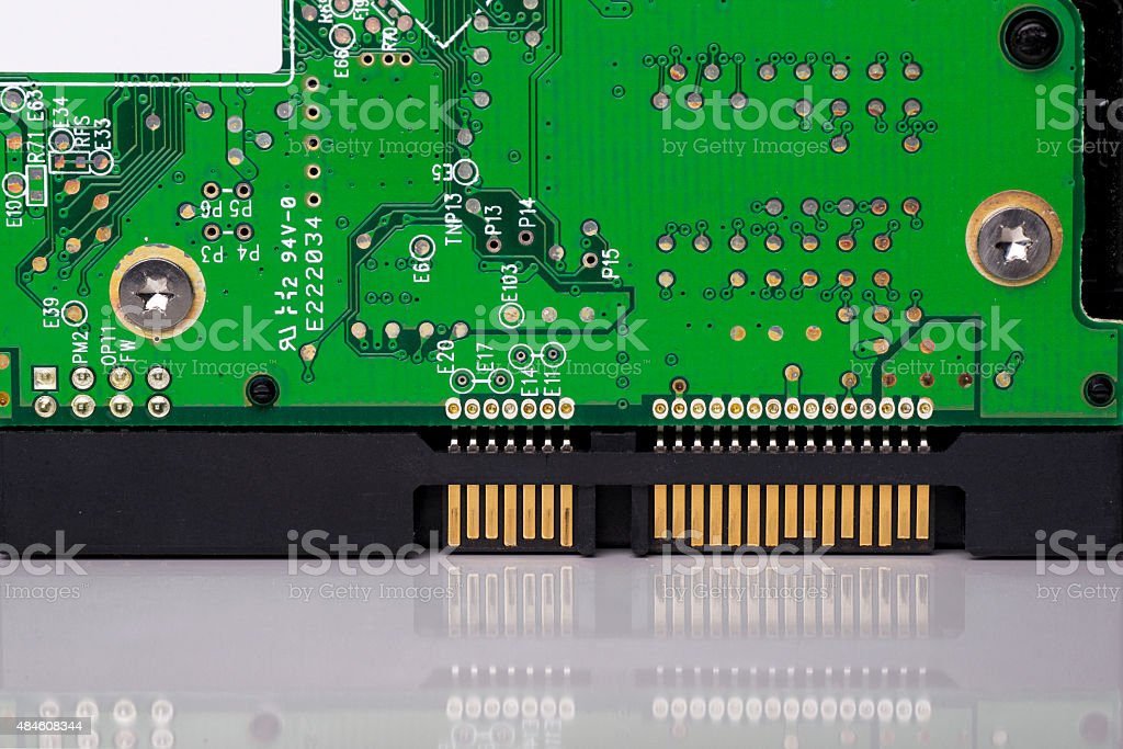 Hard drive circuit and connectors stock photo
