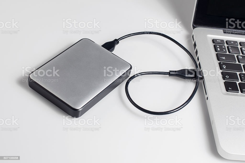 hard drive connected to the computer stock photo