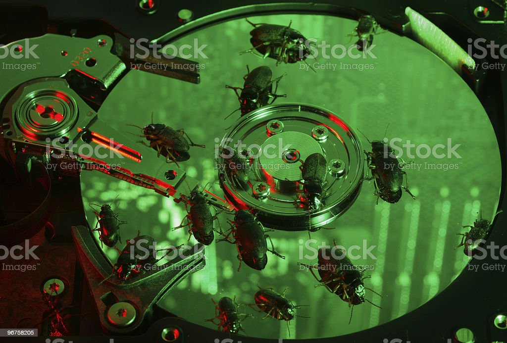 Hard drive infected stock photo