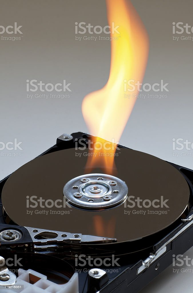 Hard drive on fire royalty-free stock photo