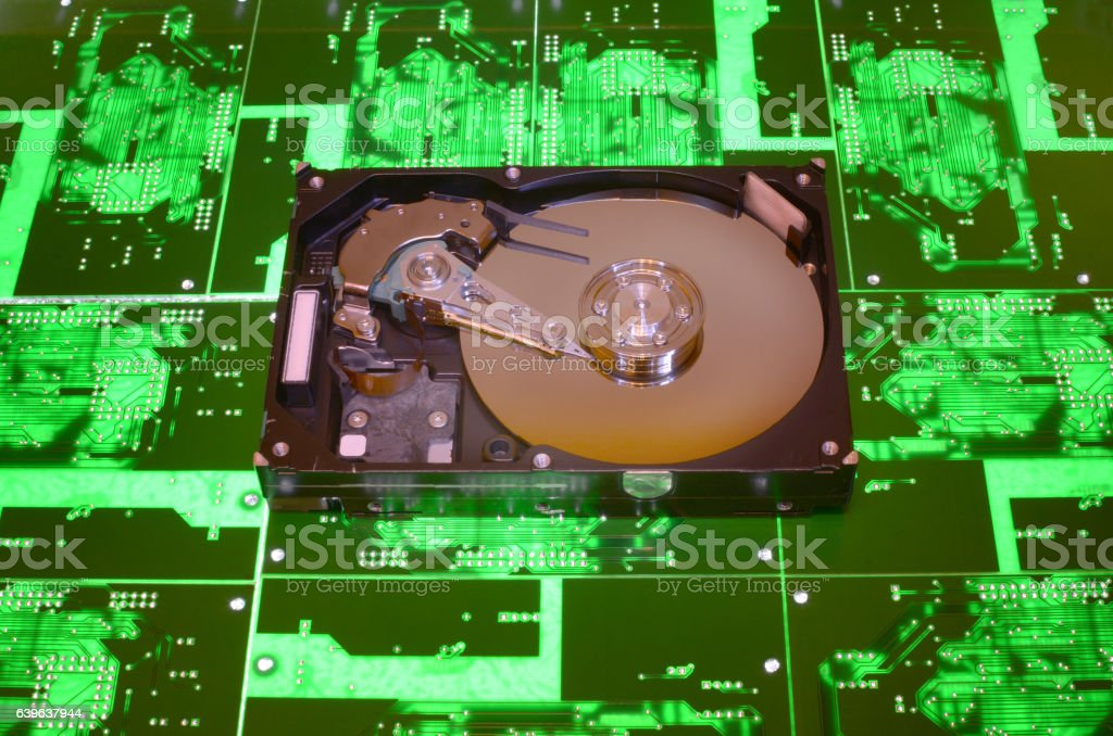 hard drive on the PCB background stock photo