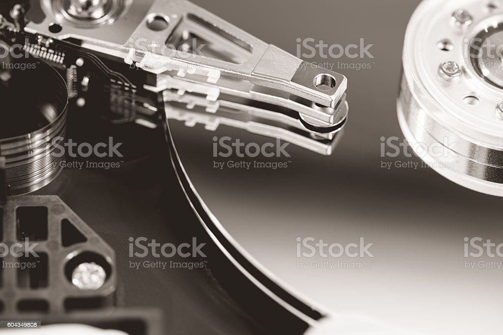 Hard drive platters and head stock photo