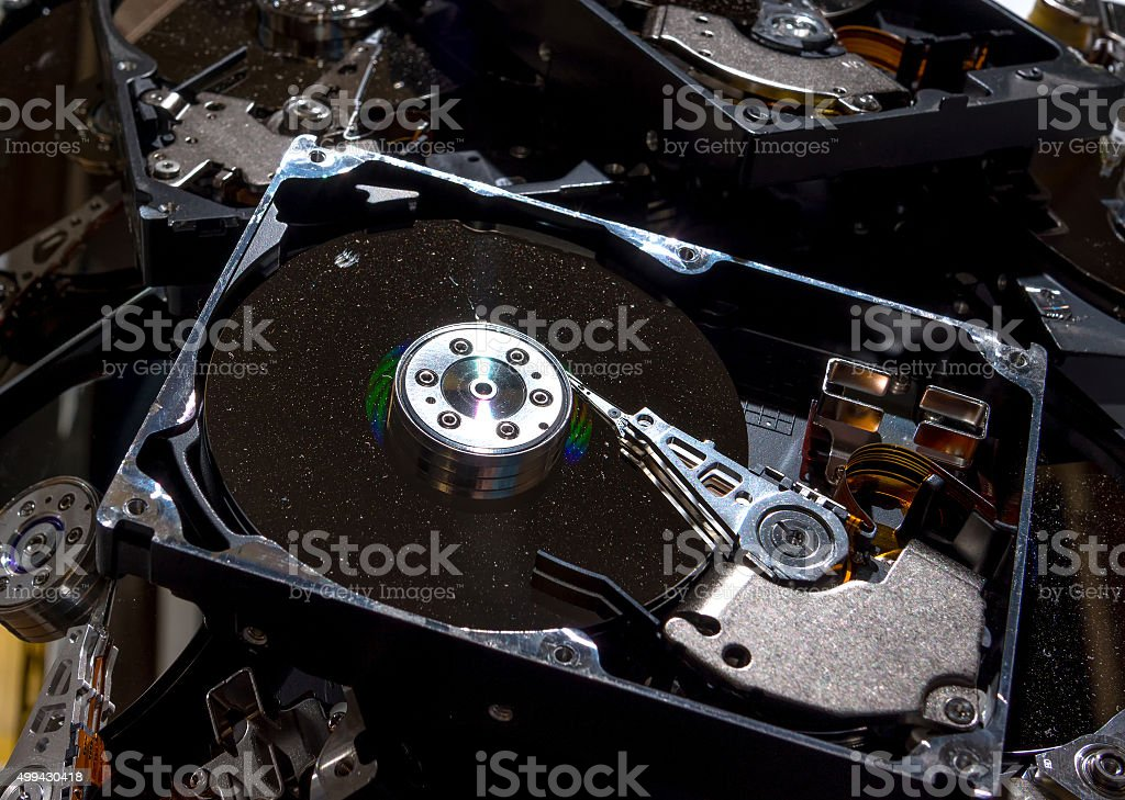 Hard Drives Being Recycled stock photo