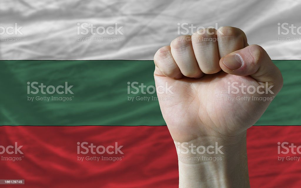 Hard fist in front of bulgaria flag symbolizing power royalty-free stock photo