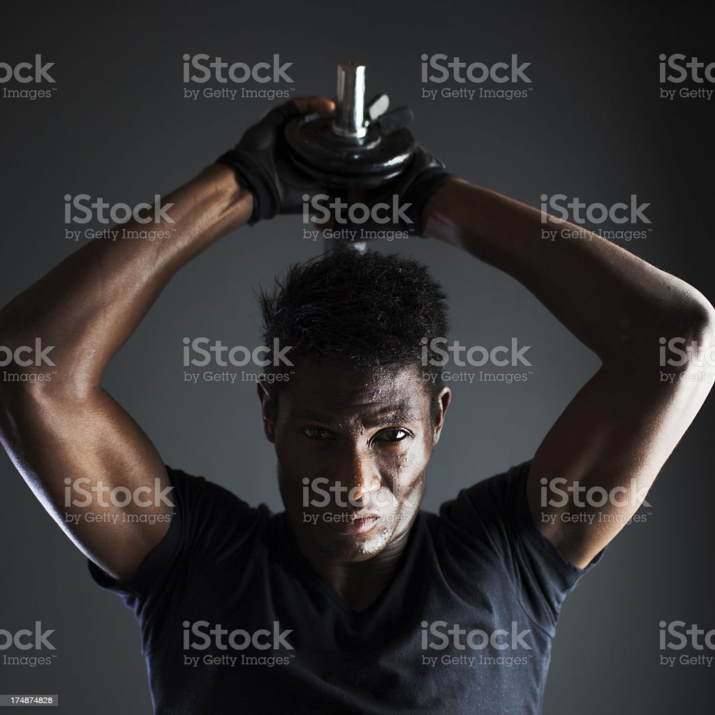 Hard fitness sesion in the gym royalty-free stock photo